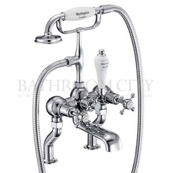 Claremont Bath shower mixer deck mounted with 'S' adjuster with cross head Handle