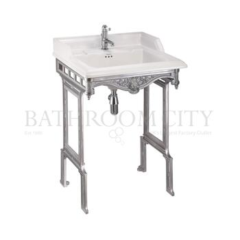 Classic 650 Rectangular basin and Brushed Aluminium Basin Stand