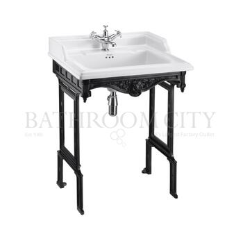 Classic 650 Rectangular basin and black Aluminium Basin Stand