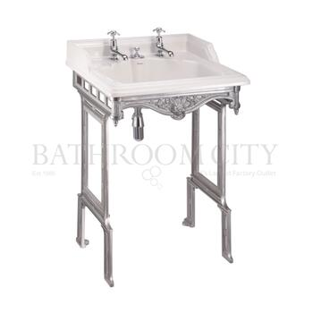Classic Basin for Integrated Waste & Overflow 65cm 2TH and Brushed Aluminium Basin Stand