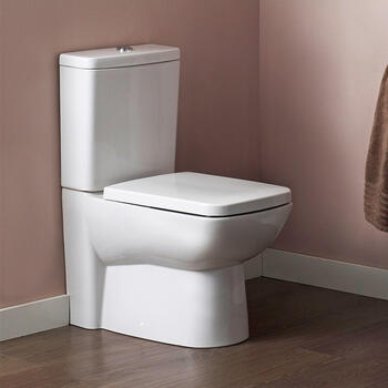 Close Coupled Pan with Central Dual Push Button Flush Cistern and Soft Close Seat