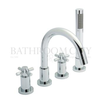 Cross Head Tec 4 Tap Hole Bath Mixer with cross head Handle
