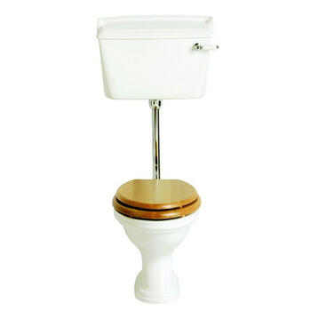 Dorchester White Pan Low Level Toilet and Gold Cistern