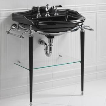 Drift Large Basin 660mm Black With Hardwick Drift Basin StAnd Chrome rectangle  Contemporary