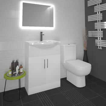 Ecco 65 Suite Unit And Basin, Close Coupled Toilet Modern