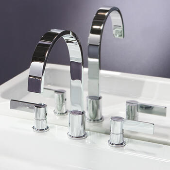 Modern stylish SILVER spout Basin tap With a lever Handle