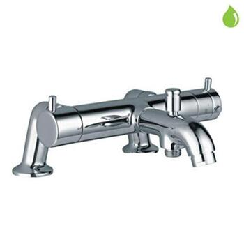 Florentine Thermostatic Double Hole Tub Mounted Stylish Bath & Shower Mixer, Deck Mounted, HP 1.0