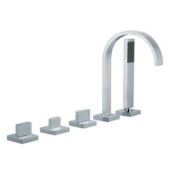 CHROME contemporary Modern 5 Hole Shower Mixer Taps