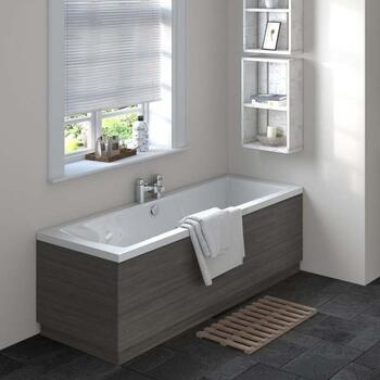 Hacienda Black Straight Bath End Panel & Plinth 700
