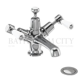 Kensington Basin Mixer , with cross head handles,with high central indice with click clack waste