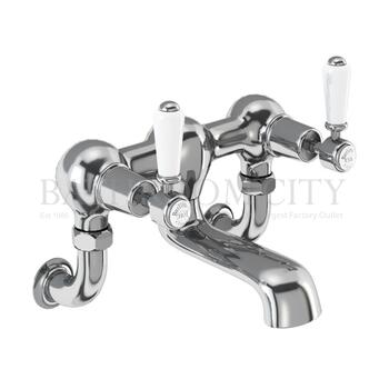 Traditional Kensington Bath filler wall mounted with cross head handles and spout
