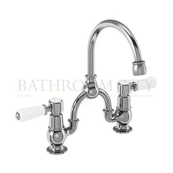 Kensington Two tap hole arch mixer with curved spout (200mm centres)