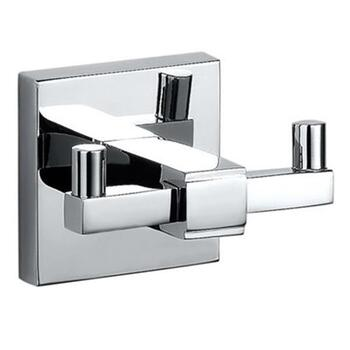 Kubix Double Robe Hook Luxurious Chrome Wall Mounted Bathroom Accessory