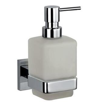 Kubix Chrome Soap Dispenser with Glass Bottle Wall Mounted Stylish Bathroom Accessory