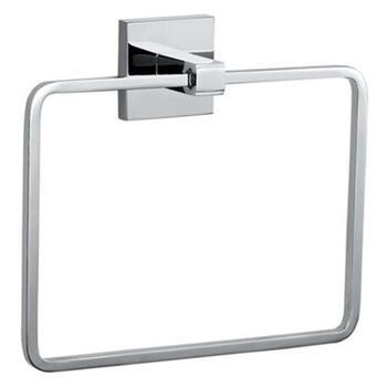 Kubix Square Chrome Elegant Bathroom and Cloakroom Towel Ring