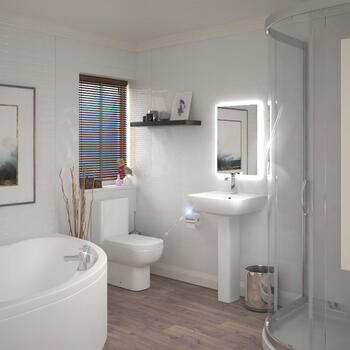 LAGUNA SMALL 1200 CORNER BATH AND 800 SINGLE DOOR QUADRANT SHOWER SUITE
