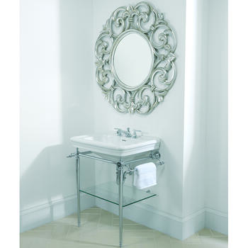 Large Basin 700mm White with Etoile Vergennes Basin Stand Polished Nickel - 15027