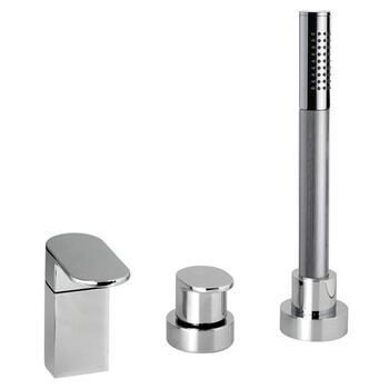 CHROME Designer Modern 4 Hole Shower Mixer Taps
