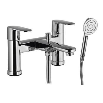 Lyric 2 Hole H Type Chrome Finish Bath Tap and Bathroom Shower Mixer with Shower Kit