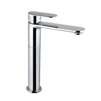 Lyric Single Lever High Neck Chrome Elegant Basin Mixer without Popup Waste, with 600mm Long Braided Hoses