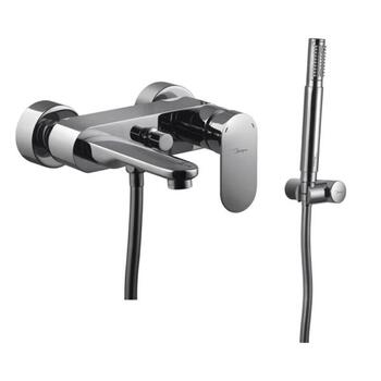 Lyric Modern Wall Mounted Chrome Bath & Shower Mixer Tap with Shower Kit