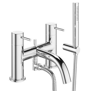 luxurious Modern CHROME spout bath mixer taps with shower head knob Handle