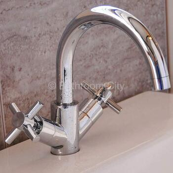Modern stylish CHROME spout Basin tap With a cross head Handle