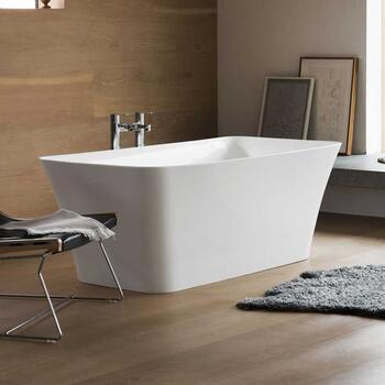 Palermo Petite Clear Stone Freestanding White Modern Bath