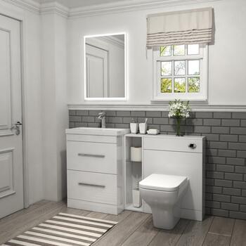 Patello 1400 Vanity Furniture Set White Modern Bathroom