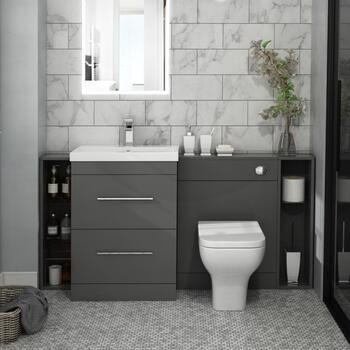 Patello 1600 Fitted Bathroom Furniture Grey Contemporary