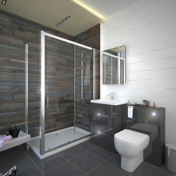 Patello Grey Sliding Door Shower suite Modern Bathroom
