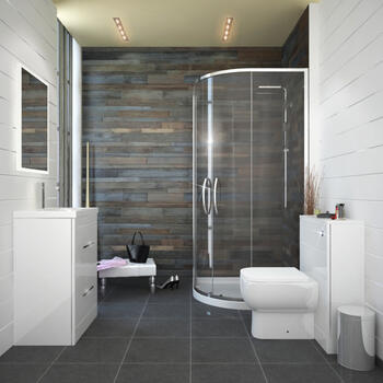 Patello White 800 Quadrant Shower suite Fashionable Modern Bathroom