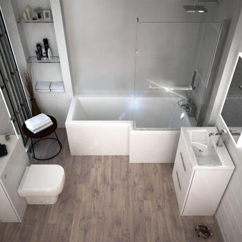 Patello White Shower L shape Bath Suite