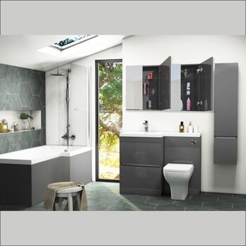 Pemberton L shape Bath Bathroom Furniture Suite Grey - 179006