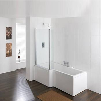 Quantum Bath Screen Silver Contemporary Bathroom