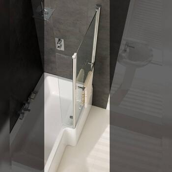 Quantum Bath Screen With Towel Rail Silver for Ellegant Bathroom
