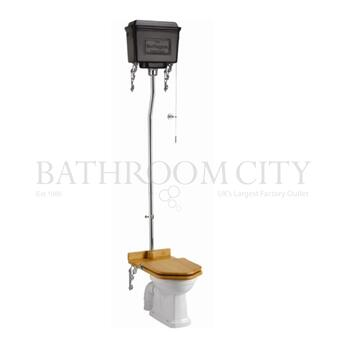 Traditional Regal High level toilet pan with Black Aluminium cistern and flush kit