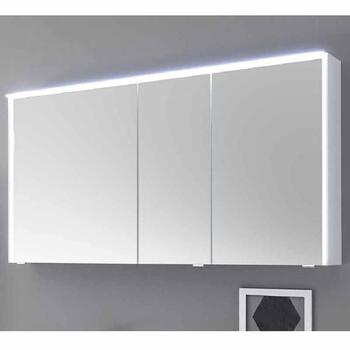 Solitaire 6010 3 Door Mirror Cabinet including LED Light Canopy and Power Outlet