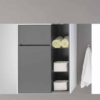 Solitaire 6010 Small Single Storage Bathroom Side Cabinet 1 Revolving Door 1 Drawer