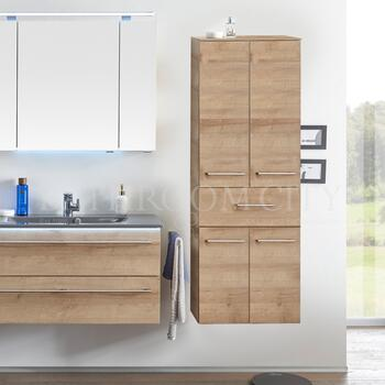 Solitaire 6025 Bathroom Tall boy  2 open shelf doors 1 drawer, 2 laundry baskets - 178369