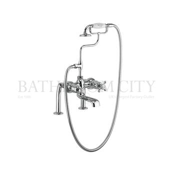 Tay Thermostatic Bath Shower Mixer Deck Mounted with cross head Handle