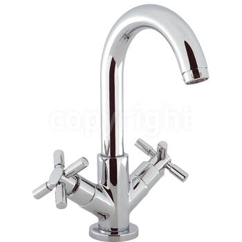 Modern luxurious CHROME standard Basin tap With a cross head Handle
