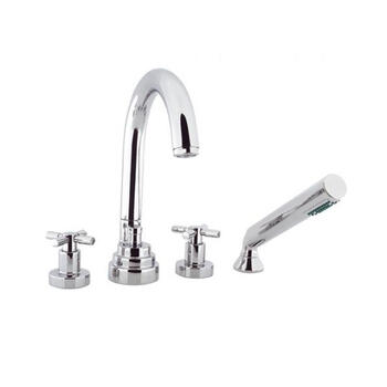 CHROME multi function 4 Hole Shower Mixer Taps