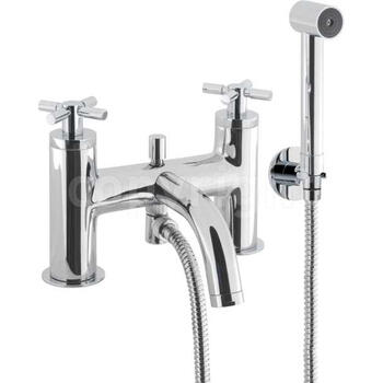Totti Chrome Bath Shower Mixer Kit Deck Mount Tap with Shower Cross Head Handle
