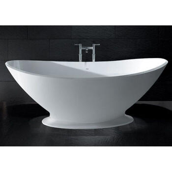 White Kurv Bath With Plinth And Integral Overflow - 3381