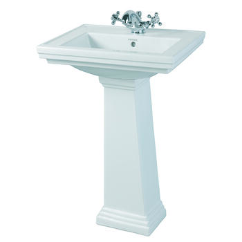 Astoria Traditional Art Deco Small White Basin 520mm With Small Pedestal White