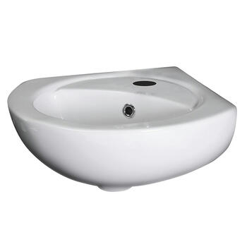 Brisbane Corner White Ceramic Wall Mounted Basin Curved Triangle Shape Washbasin