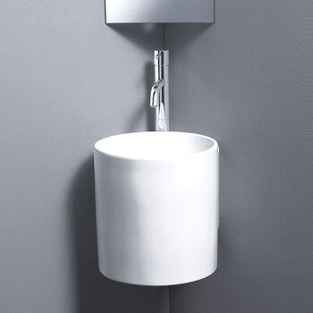 Celin Corner White Ceramic Basin Wall Hung curved