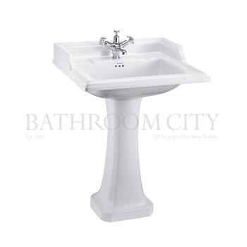 straight Classic 650 Rectangular basin and Standard Pedestal option of 1,2,3 tap hole