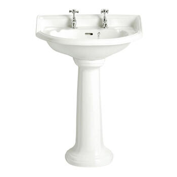 Dorchester Traditional Design White Bathroom Basin Medium And Tall Pedestal
